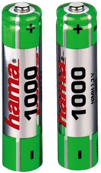 Hama NiMH-Akkus 2x AAA, 1000 mAh, 1,2V