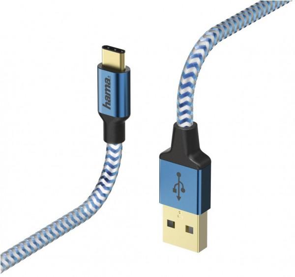 Hama USB-Kabel Reflected (1,5m) blau