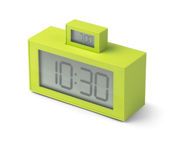 Lexon INOUT - LR139 U6 - LCD Uhrenwecker limette   gebraucht