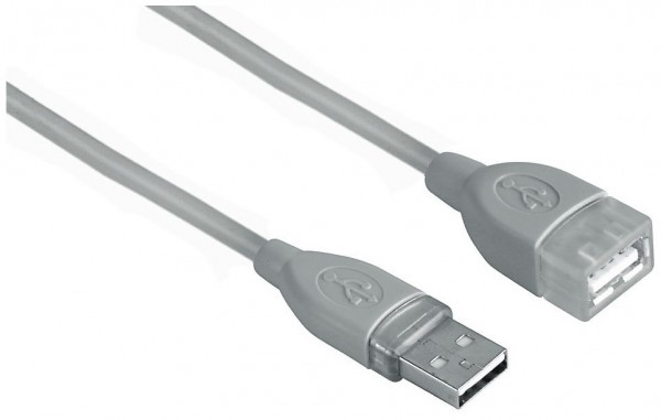 Hama USB-Kabel A-Stecker A-Kupplung grau